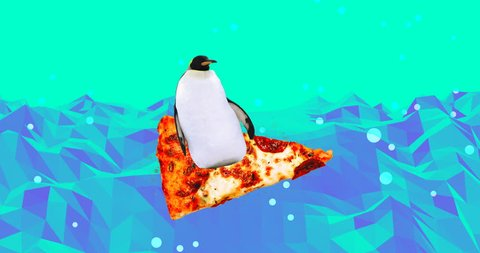 Animation minimal design. Penguinsurfs on pizza. Fun Fast food art. Pizza lover