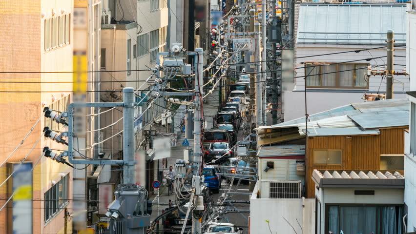 Timelapse with zoom out motion of narrow street in Yokohama, Japan | Shutterstock HD Video #1020036718