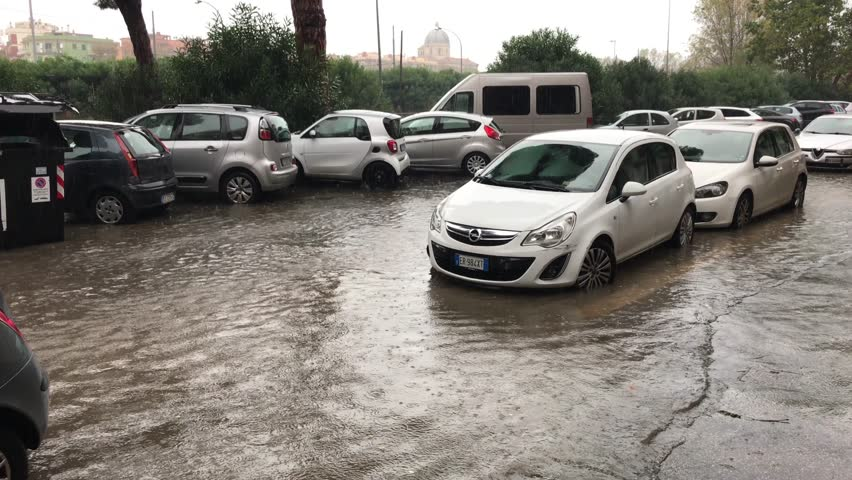Rome, Italy - 11/25/2018: Strong rain in Rome, signs of climate change