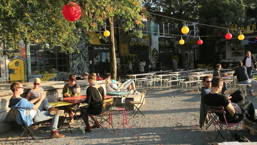 Berlin/Germany-2018: People at Urban Spree Galerie Cafe, friedrichshain, Berlin