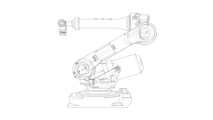 Sketch of Robotic arm. The layers of visible and invisible lines are separated. 3d illustration turntable video