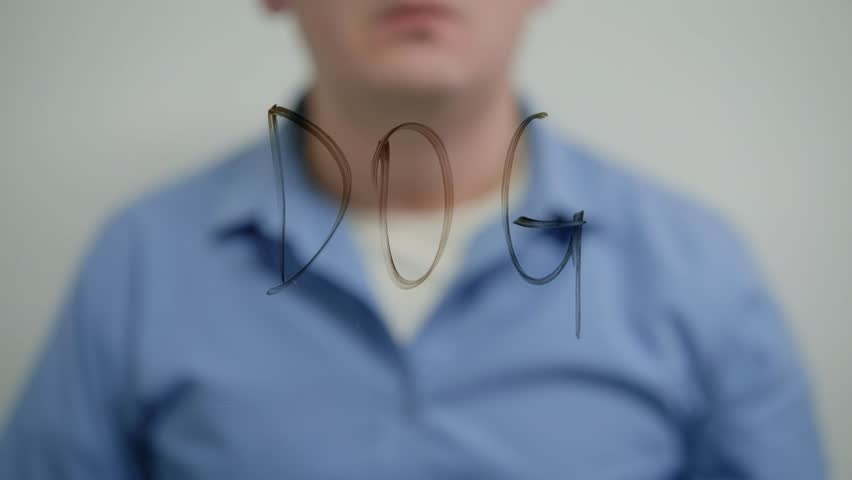 Man writing Dog marker transparent glass | Shutterstock HD Video #1020218668
