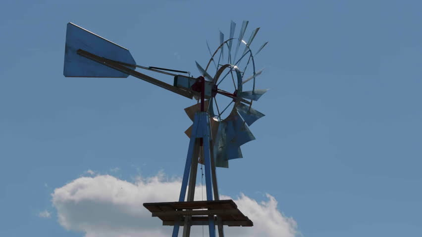 Windmill Silhouette Blue Sky Clouds, Natural Wind Energy | Shutterstock HD Video #1020288808