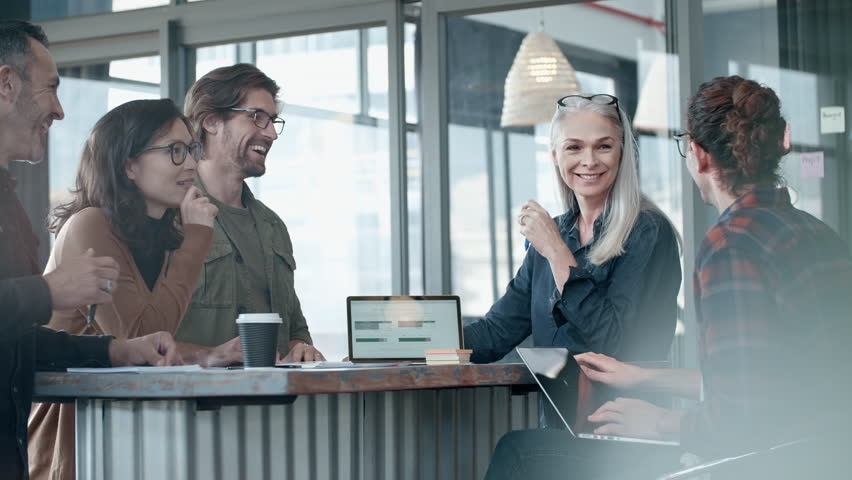 Business team discussing working during meeting and smiling. Group of happy business people having casual talk during meeting.  | Shutterstock HD Video #1020355048