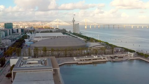 Lisbon, Portugal - November 2018: Aerial view on MEO Arena, Sao Gabriel and Sao Rafael Towers in the Park of Nations at the city promenade