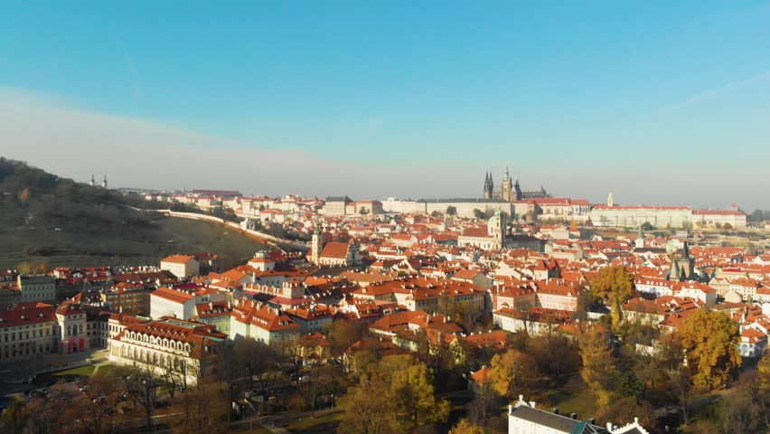 Flight over the city Prague grad castle. Aerial View of the Prague city. Panoramic view above on the Prague city. Cityscape of Prague. | Shutterstock HD Video #1020467608