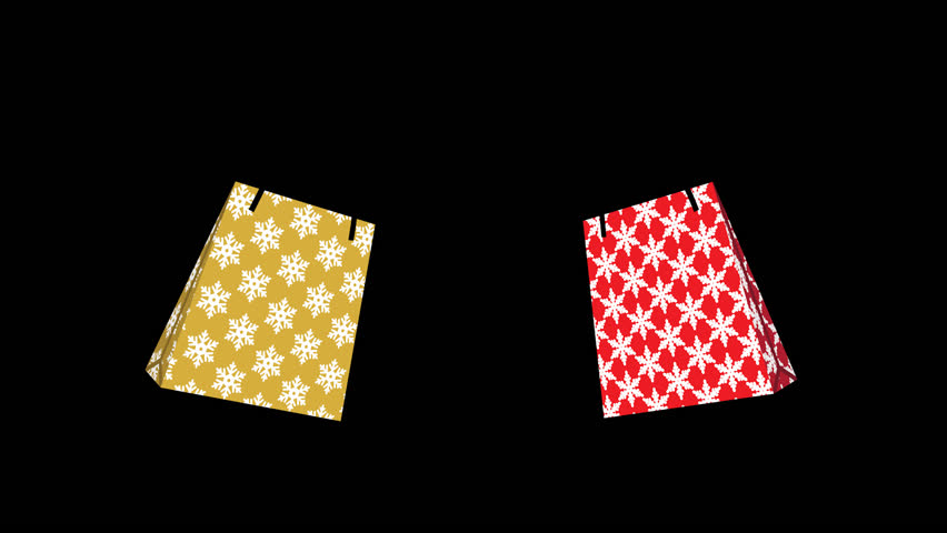Alpha channel file ,Appeared Two Shopping bags animation - pair object, snowflake pattern | Shutterstock HD Video #1020594388