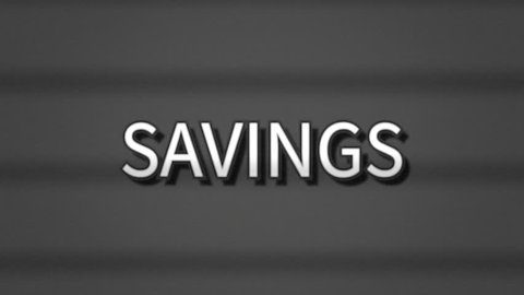 A sharp serious text, white letters on a grey background, appearing on a retro vintage TV screen with scanlines: Savings.