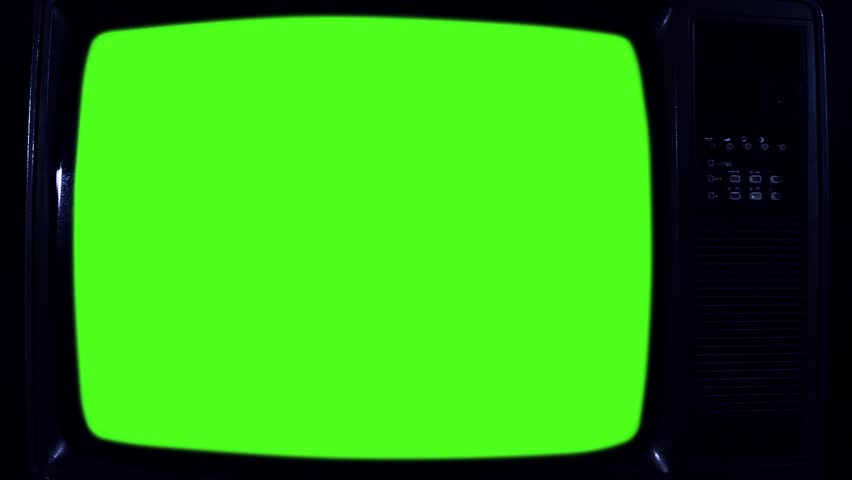 1980s Television with Green Screen. Night Tone. Zoom Out. Ready to replace green screen with any footage or picture you want.   Shutterstock HD Video #1020642988