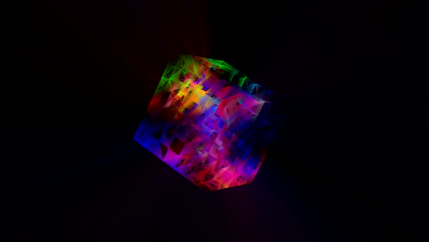 Colorful 3D cube Audio Spectrum Map background loop (100 bpm) - Motion graphics for Sound music videos or stage LED screens, night clubs and more.