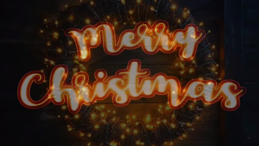 Christmas wreath with lights and text. Loop of Merry Christmas greetings text animation. | Shutterstock HD Video #1020717058