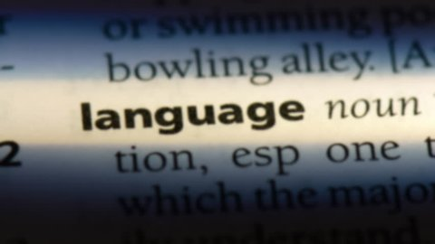 language word in a dictionary. language concept.