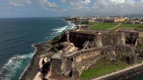 Aerial close-up shot right over El Morro fortress in Old San Juan, Puerto Rico