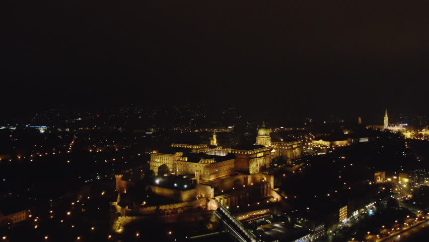 Aerial view Budapest, Hungary illuminated at night | Shutterstock HD Video #1020746218