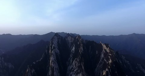 landscape of hua mountain shooted by drone