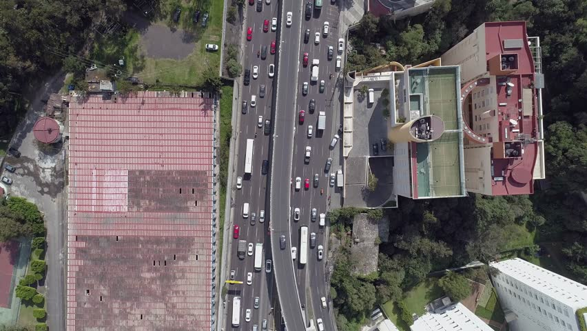 Aerial top view of some avenues and freeways in Mexico City  | Shutterstock HD Video #1020786148