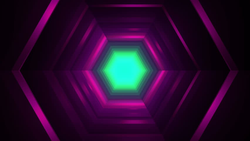 Beautiful Hexagon Tunnel Travel Animation - Futuristic Lights Loop | Shutterstock HD Video #1020787528