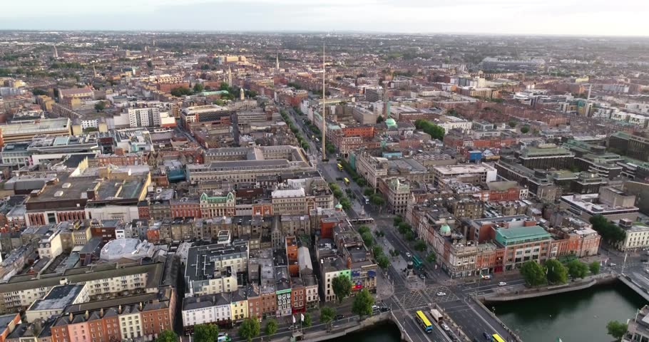 The drone is tracking backwards facing the spire and O'Connell street flying across the river Liffey and Grafton street | Shutterstock HD Video #1020817348