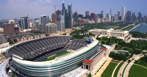 Chicago, Illinois / United States - September 5 2018: Drone Shot of Soldier Field and Chicago Skyline