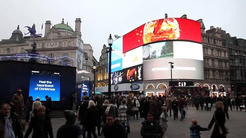 LONDON, ENGLAND - DECEMBER 18, 2016: The signs in the Piccadilly Circus during Christmas time. The Piccadilly Circus was build in 1819 to connect Regent Street with Piccadilly.
