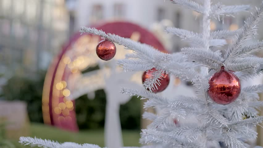 Christmas tree decoration on the street of the city on a day time, frozen fir or spruce branches. | Shutterstock HD Video #1020834178