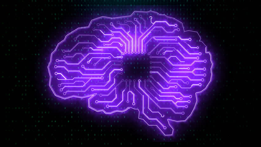 Creative circuit brain 4K UHD animation on black background. Artificial intelligence and brainstorm concept. 3D Render | Shutterstock HD Video #1020844888