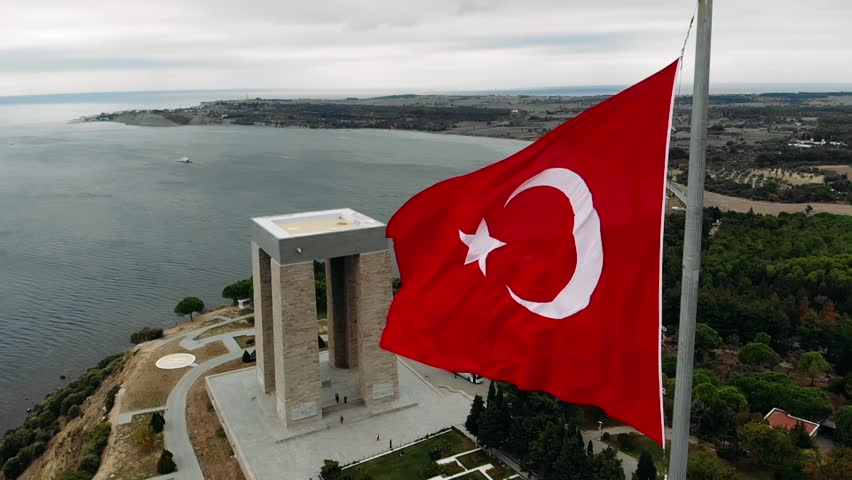 The Çanakkale Martyrs' Memorial is a war memorial commemorating the service of about 253,000 Turkish soldiers who participated at the Battle of Gallipoli. | Shutterstock HD Video #1020860428