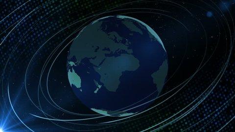 Rotating CG Earth on Digital background