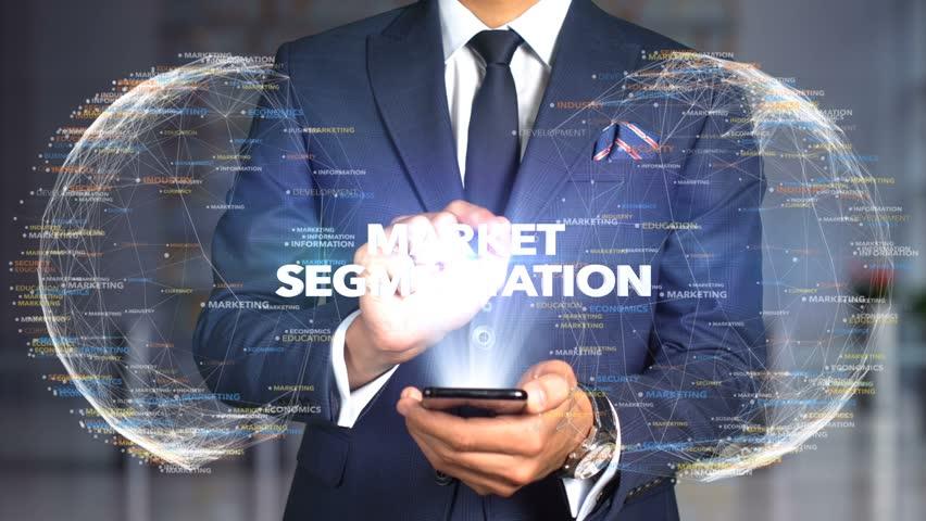 Businessman Hologram Concept Economics - Market segmentation   Shutterstock HD Video #1020895588