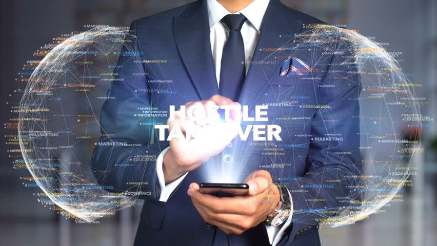 Businessman Hologram Concept Tech - HOSTILE TAKEOVER   Shutterstock HD Video #1020897568
