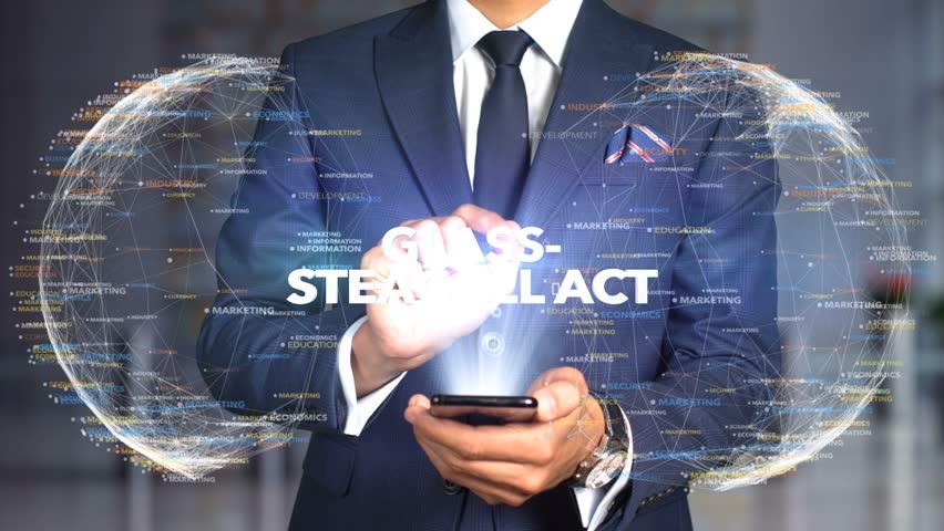 Businessman Hologram Concept Tech - GLASS-STEAGALL ACT   Shutterstock HD Video #1020897658