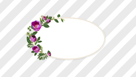 Digital image of a speech balloon with pretty purple flowers and green vines coming up against the screen with grey and white stripes in the background