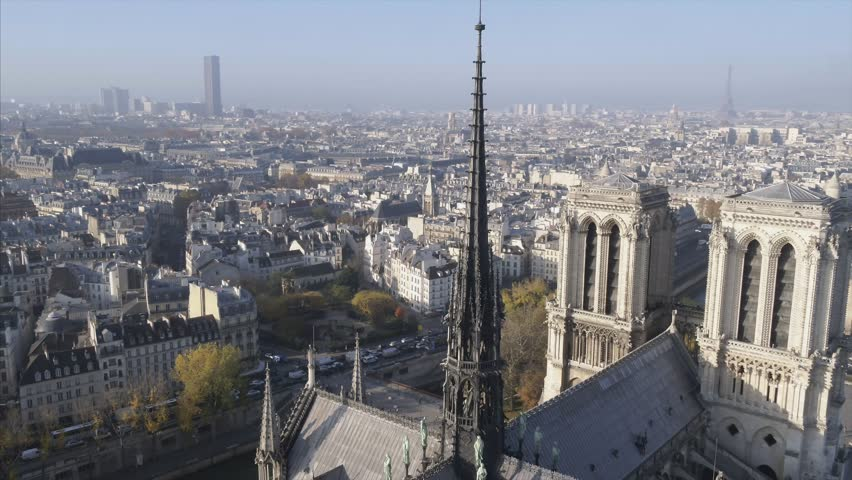 Notre Dame de Paris Cathedral drone | Shutterstock HD Video #1020972088