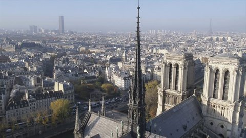 Notre Dame de Paris Cathedral drone