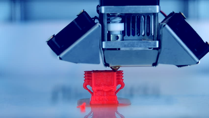 3D printer working close up. Automatic three dimensional 3d printer performs plastic. Modern 3D printer printing an object from the hot molten. Concept progressive additive technology for 3d printing. | Shutterstock HD Video #1021012588