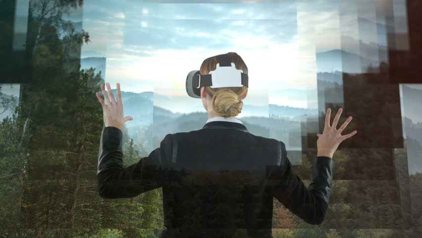 Businesswoman using VR against animated forest landscape background #1021128898