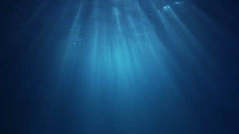 Sun light beams shining from above coming through the deep clear blue water causing a beautiful water lighting reflections curtain