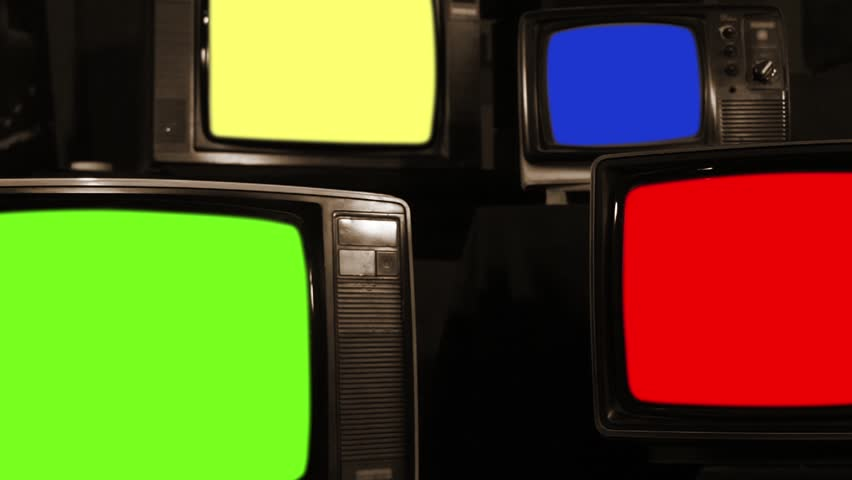 "Old Tvs Turning Off Different Chroma Screen. Sepia Tone. Zoom Out. Ready to Replace Chroma Screens with any Footage or Picture you Want. You can do it with ""Keying"" (Chroma Key) effect. 