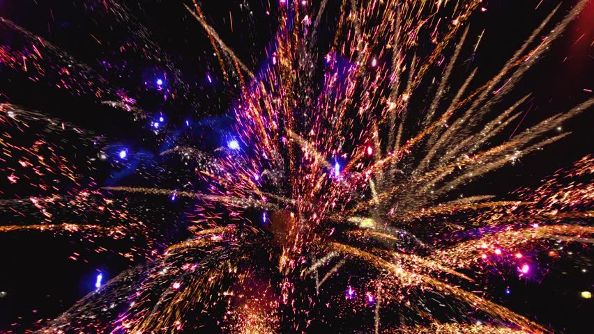 Abstract colored firework background, Celebration and anniversary concept. Holiday fireworks. Fireworks in slow motion in night sky | Shutterstock HD Video #1021208158