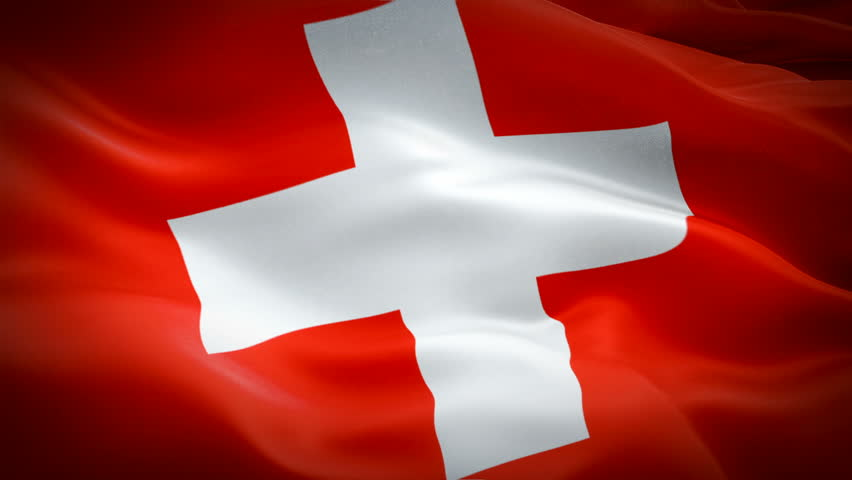 Swiss Flag Transition waving in wind video footage Full HD. Realistic Swiss Flag background. Switzerland Flag Looping Closeup  Full HD . Switzerland EU European country flags Ful