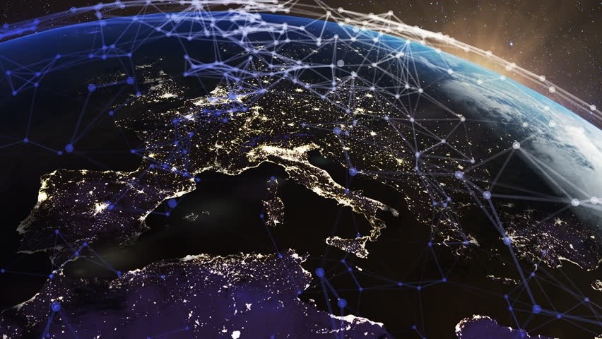 Global world network connections. Communication nodes flying around the earth while sun is rising. Business and technology concept