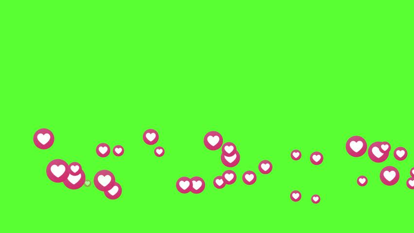 Social love heart icon symbol animation across on green screen #1021277698