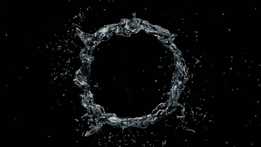 Water circle looping with reflections on black background, Water Splash Spinning flow, Liquid Wave shape from crystal nature water and bubble drop. Alpha matte, slow motion, rapid, seamless loop, cg. | Shutterstock HD Video #1021376188