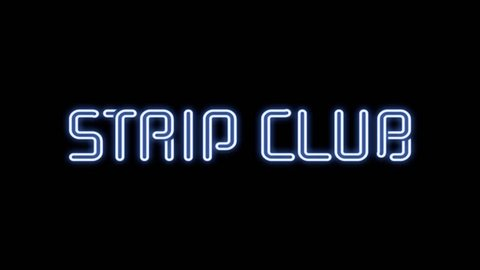 Many neon signs with text (Girls, Live Show, Nude, Topless, Open, Peep, Private, Sexy, Strip Club, XXX) coming to the viewer one at a time. Black background.