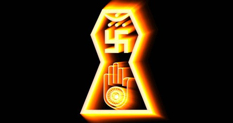 Ahimsa, flashing symbol of jainism religion. 4k video animation.
