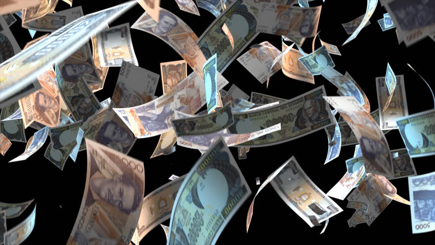 Falling Ecuador money banknotes