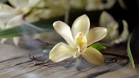 """Vanilla flower, together with vanilla sticks, emit a """"fragrance"""" in the form of smoke. Located on an old wooden board, behind - vanilla orchid."""