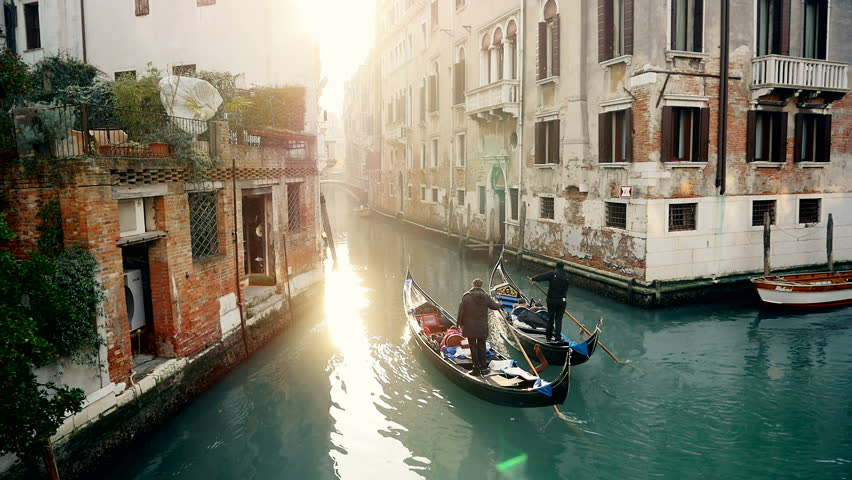 Magic drone shot of Venice with gondola in canal #10215728