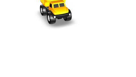 Overhead View of Yellow 3D Toy Dump Truck Rolls into Frame and Bed Lifts Animation 4K