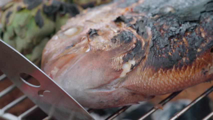 Charred Spanish style fish grilling on an outdoor wood barbecue, CLOSE UP | Shutterstock HD Video #1021668358